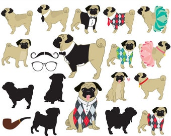 Pugs clipart - dog clip art whimsical puppies puppy, cute, wedding, doggies tux tutu pug silhouette moustache glasses elegant commercial use