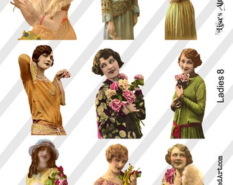 Ladies Digital Collage Sheet Ladies No. 8, PNG available, (Sheet no. L8) Instant Download