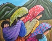 Dolce Vita- Babe and Colorful Mexico women 16x20 inch original acrylic painting on 1.5 inch canvas
