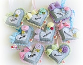 Heart Decoration Ornament - Mother's Day Gift - pastels and grey gray
