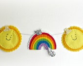 The Sun has got his hat on garland - rainbows, sun, raindrops, happy, glitter