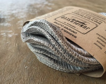 Steel Grey Bamboo, Jersey, Alternative to Disposable Facial Poufs - 12 Rounds Plus BONUS Wash Bag