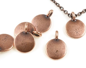 Small Circle Stamping Blank Antique Copper TierraCast Blank  Charm for Personalized Jewelry - Copper Blank (P1237)