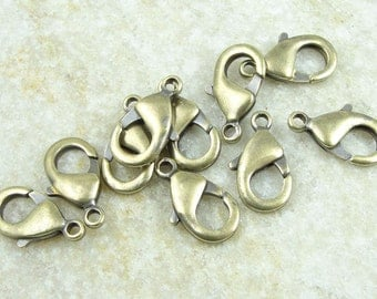 Antique Brass Lobster Clasp Findings 15mm Lobster Claw Clasp by TierraCast - Bronze Findings for Necklaces and Bracelets Closure Hook (PH54)