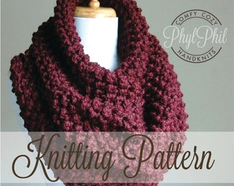 KNITTING PATTERN - Oversized Cowl - Easy Beginner Pattern PDF Chunky Super Bulky Yarn