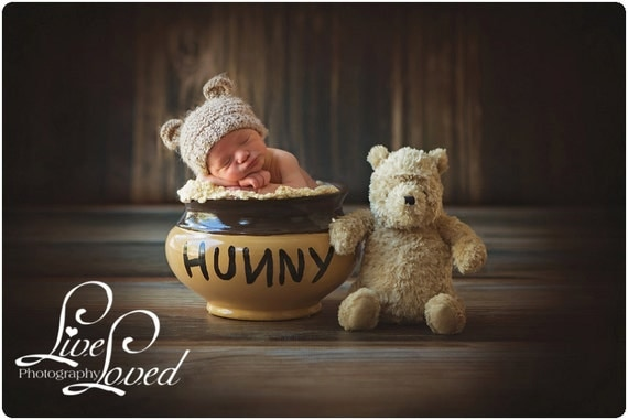 Newborn Baby Bear Hat, Knit Bear Hat, Baby Hat, Knitted Baby Beanie, Newborn Photo Prop, Newborn Photo Prop, Baby Boy Hat, Baby Girl Hat