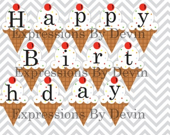 Instant Download DIY Printable Ice Cream Birthday Banner DIGITAL PDF Banner