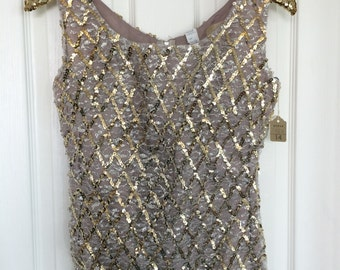 Vintage NWT Sequined silver gold Tank Shell Size Small