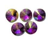 16mm Acrylic Rivoli faceted stones Bright Pink AB 5pcs