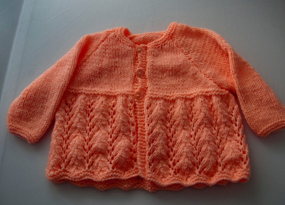 Handknitted Sparkly Peach Girls Cardigan for 1 Year Old