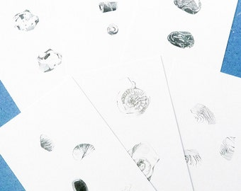 Rocks fossils - prints gift set of geology drawing