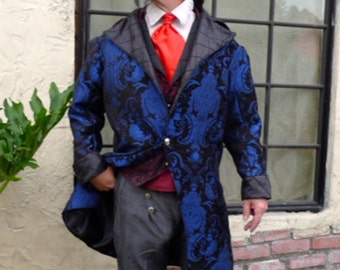 Cobalt Blue and Black Paisley Tapestry Cloth and Black Steampunk Pirate Frock Wedding Coat, Vest, 6 Button Trousers, Frilly Shirt and Cravat