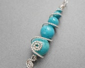 SALE Blue Stone and Twisted Silver Wire Pendant Item CP3002