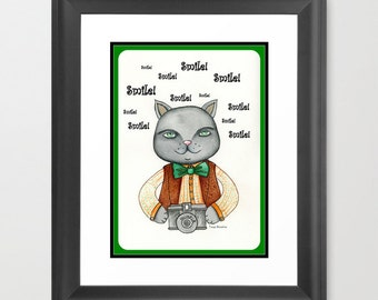 Kitty Cat Photographer Art Print children's illustration 8x10 by Tanya Besedina