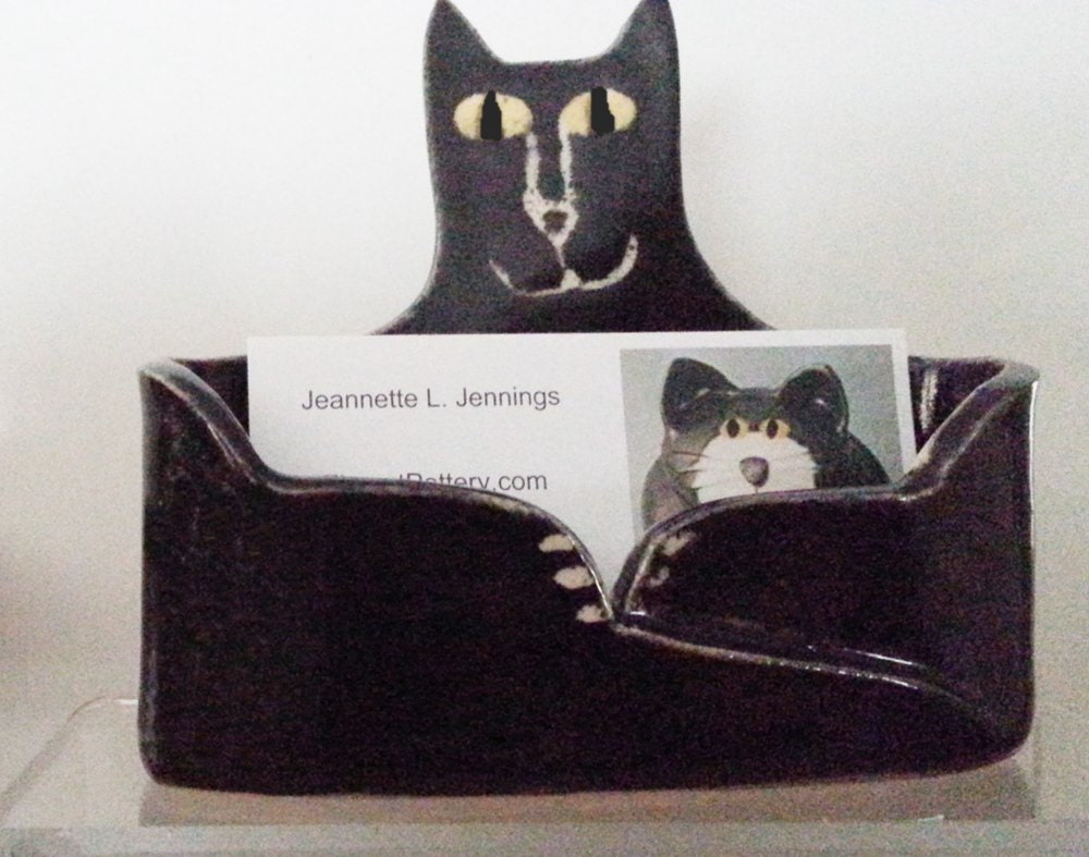 Business card holder pottery cat lucky black kitty ceramic for Cat business card holder