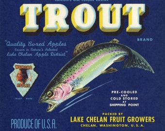 Trout  Apple Fruit Crate Label