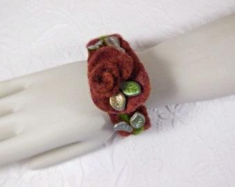 Felted Rose Cuff Bracelet
