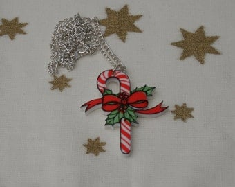 Candy Cane Necklace, Christmas Candy Illustration Necklace