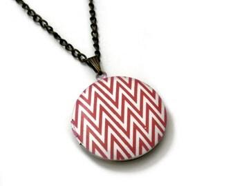 Geometric Locket Necklace, Chevron Necklace