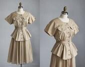 sale /// 1980s khaki tan short sleeve mid length peplum waist dress / s - m