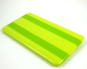 Yellow and Green Glass Spoon Rest - Fused Glass Striped Spoon Rest