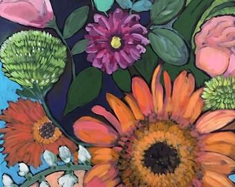 August Garden, Floral Painting, Wall Art Print