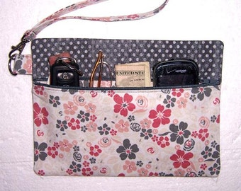 Pink Grey Floral Wristlet Clutch, Polka Dot Wallet, Zippered Makeup Bag, Gadget or Camera Bag, Phone Holder