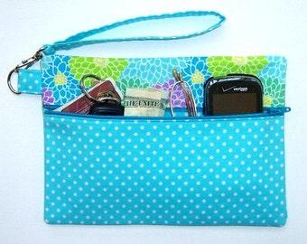 Aqua White Polka Dot Wristlet, Floral Wallet, Blue Green Purple Clutch, Summer Print Phone Holder, Zippered Makeup Bag, Camera or Gadget Bag