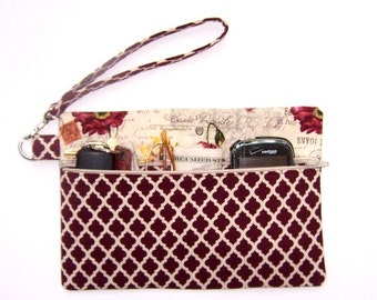 Burgundy Floral Wristlet, French Postage Theme Clutch, Peach Yellow Tan Wallet, Small Zippered Purse, Rust Cream Diamond Print Makeup Bag