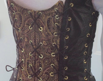DDNJ Choose Fabrics Reversible Overbust Lace Corset Plus Custom Made ANY Size Renaissance Pirate Anime Wedding Pirate Medieval Wench Costume
