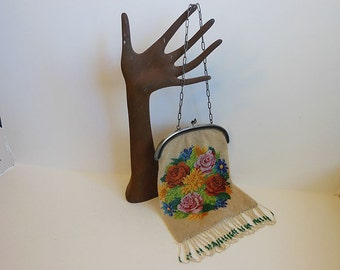 antique beaded bag / Heirloom Bag Big Beautiful Roses Old Victorian Beaded Purse