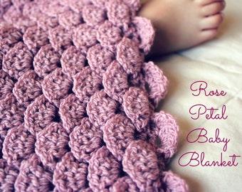 Download Now - CROCHET PATTERN Rose Petal Baby Blanket - Any Size - Pattern PDF