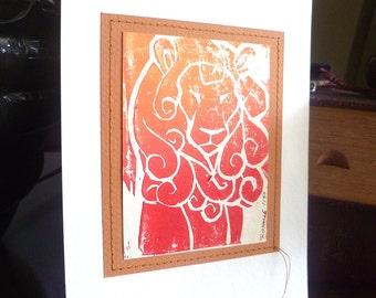 Lion limited edition linocut print, animal art, home decor, small art print