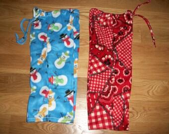 Child Lounge Pants 2 Pack Size 3 Snowman Fleece and Bandana Print Fleece