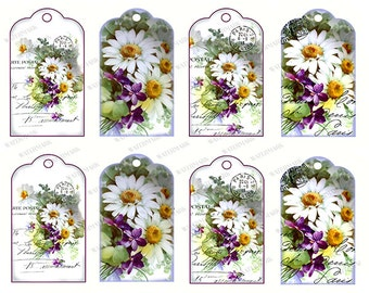 Gift Tags Scrapbook Instant Digital Download Printable Daisy Daisies Violets Paris Postmark