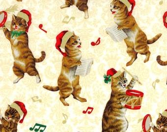 Hoffman Christmas Kitties J 9239 33G Cream by the yard