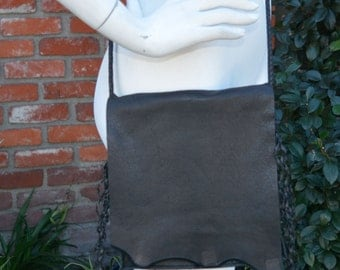 Black Leather Bolo Bag with Natural Edge Flap