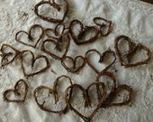 Grapevine hearts twig embellishments Rustic wedding mini twigs hearts wedding table craft supplies rustic natural home decor branches sticks