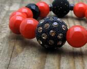 Coral Black Modern Beaded Bracelet / Rhinestone Studded  Focal / Bright Cool Urban Stretch