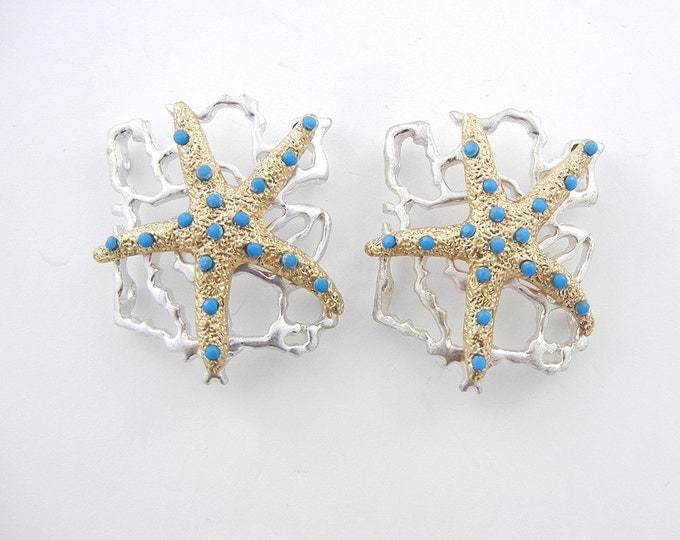 Pair of Two-tone Marine Starfish Slide Charms with Tiny Acrylic Turquoise Cabochons
