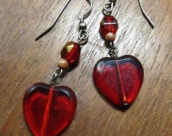 HEART:  Red Czech Glass Earrings