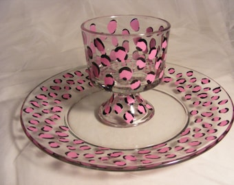 pink leopard party platter, chip and dip, appetizer plate and bowl - perfect hostess gift  for a holiday party