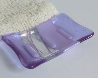 Fused Glass Soap Dish in Lavender