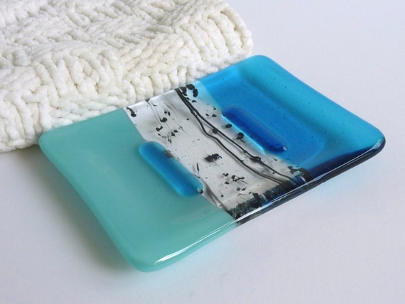 Fused Glass Soap Dish in Bright Turquoise Blue