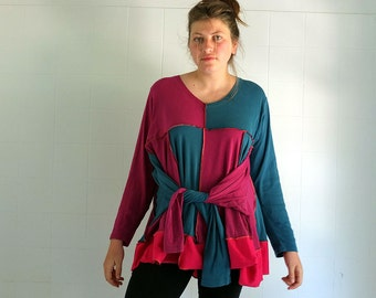 Two Shirts Four Sleeves -  Wide Swinging Tunic - individually made by kathrin k. -  OAK -  cotton