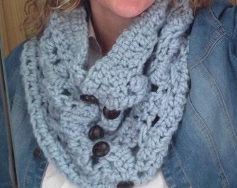 Scottish Cowl Crochet Pattern - Chunky Oversized Button Cowl Pattern DIY