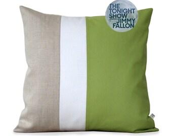 Lime Colorblock Pillow with Cream & Natural Linen Stripes by JillianReneDecor (20x20) Bright Home Decor | Apple Green | Color Block Pillows
