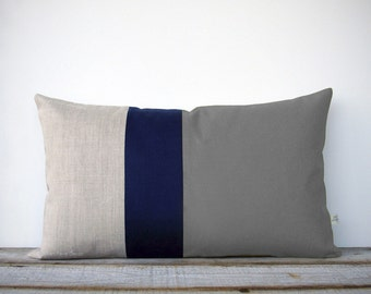 Colorblock Pillow Cover in Grey, Navy and Natural Linen (12x20) by JillianReneDecor - Modern Home Decor - Decorative Pillow - Lumbar Pillow