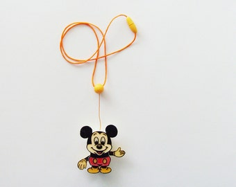 Vintage Mickey Mouse Necklace / 1980s Vintage Disney Necklace / Animated Pendant Figurine / Gift Under 15