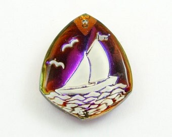 Vintage Crystal Sailboat Pendant, Reverse Carved and Painted Glass Yacht Pendant, Sailing Boat
